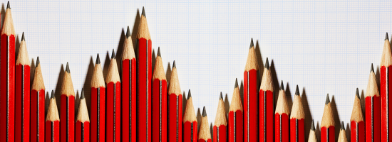 A bar chart made of red pencils