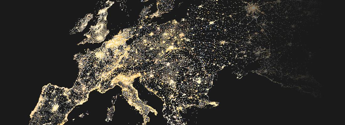Una mappa dell'Europa con le aree principali illuminate