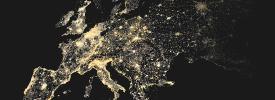 ヨーロッパの主要な地域が輝いている地図