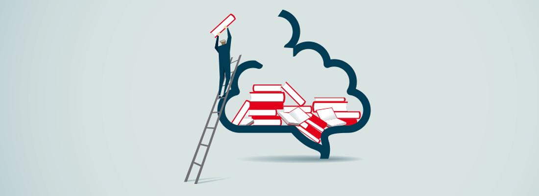 Una ilustración de una pequeña persona apilando libros en un cerebro