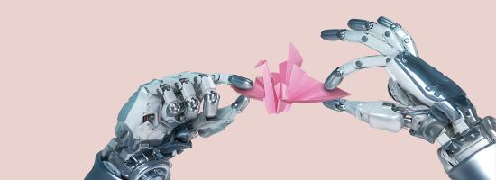 Robot hands holding an origami bird