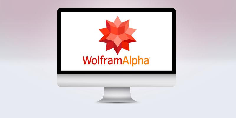 デスクトップパソコンの画面にあるWolfram Alphaのロゴ