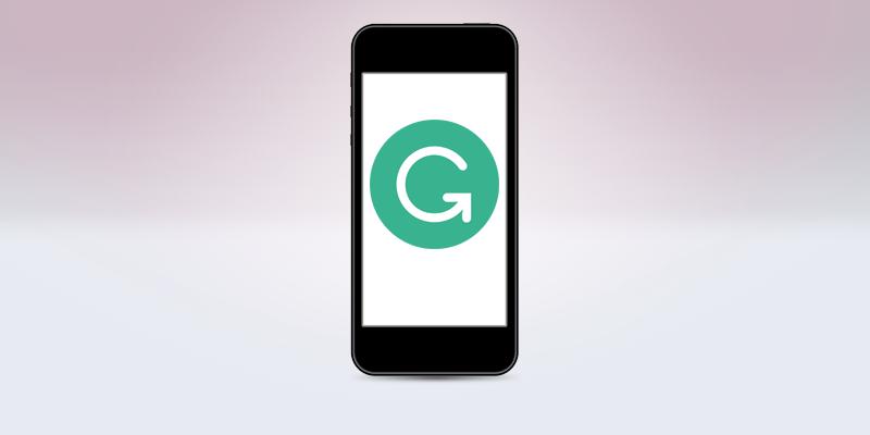 スマートフォンの画面にあるGrammarlyのロゴ
