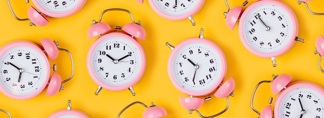 Lots of brightly colored clocks