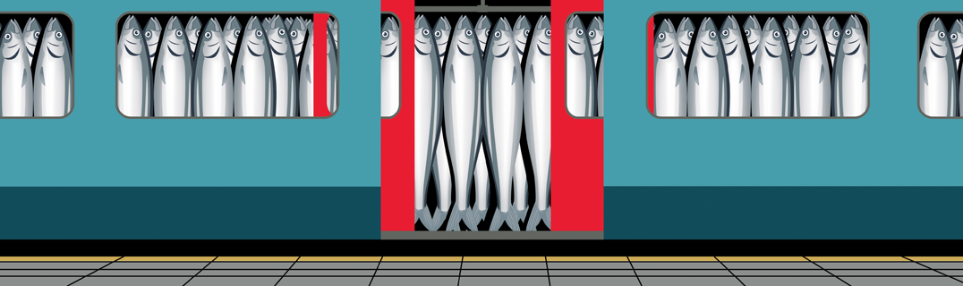 Sardines demonstrating commuters on a packed train