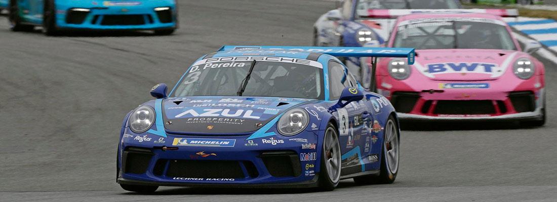Porsche sports car on a racing track